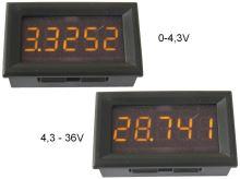 Měřidlo digitální panelové 0 - 36V LED displej voltmetr 5 místný displej - žlutý