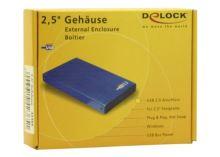 "DeLock USB 2.0 skříň 2,5"" IDE Aluminium modrá, 42365"