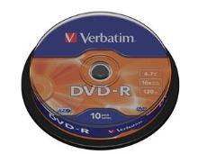 VERBATIM DVD-R(10-Pack)Spindle/General Retail/16x/4.7GB , 43523